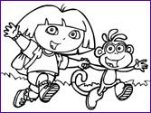 Colorear Dibujos Dora y Botas